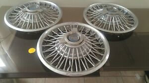 Three 1965 1966 Ford Mustang Wire Spinner Hubcaps