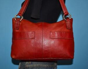 VTG FOSSIL Red Leather Shoulder Bag Satchel Carryall Purse Bag $34.99