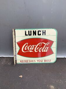 Original  Coca Cola Fishtail Flange Sign Coke Lunch Refreshes You Best 18x15