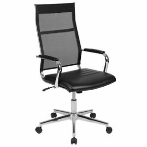 High Back Mesh Contemporary Executive Swivel Office Chair With Leathersoft Seat