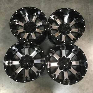 Used 20x12 D8 Fit Lifted Chevy Ford 6x135 6x139 7 6x5 5 44 Black Machined Face
