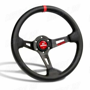 Red Line 350mm Racing Steering Wheel Microfiber Leather For Red Momo Hub X1