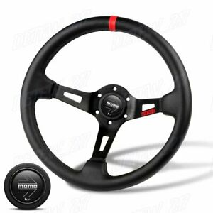Red Line 350mm Racing Steering Wheel Microfiber Leather For Momo Hub X1 bksl