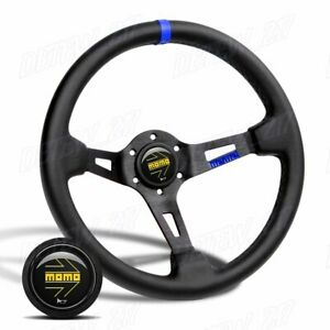 Blue Line 350mm Racing Steering Wheel Microfiber Leather For Bkyl00 Momo Hub X1