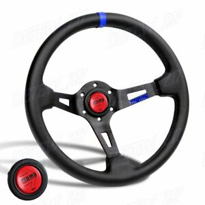 Blue Line 350mm Racing Steering Wheel Microfiber Leather For Rdbk Momo Hub X1