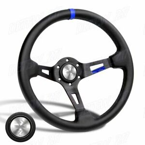 Blue Line 350mm Racing Steering Wheel Microfiber Leather For Silver Momo Hub X1