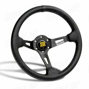 Black Line 350mm Racing Steering Wheel Microfiber Leather For Bkyl Momo Hub X1