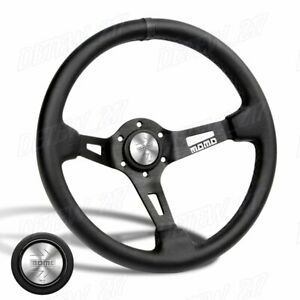 Black Line 350mm Racing Steering Wheel Microfiber Leather For Silver Momo Hub X1