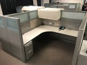 Nice Modern Haworth 7 x7 Office Cubicles Workstations frosted Glass