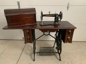 Rare Antique Weed Hartford Sewing Machine Treadle Cast Iron Base Cabinet W Key