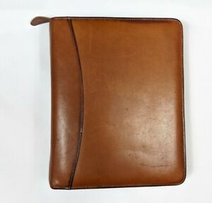 Franklin Quest Classic 7 Prong Planner Brown Aniline Leather Binder Agenda Zip