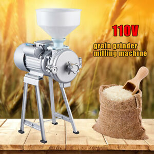 Electric Grinder Feed Mill Commercial Dry wet Beans Milk Refiner Rice W funnel