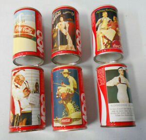 #T113.  SIX(6)  CENTENNIAL CELEBRATION COCA COLA COKE CANS - NEW ZEALAND ISSUE