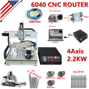 6040 Cnc 2 2kw 4axis Router Frame Mach3usb Engraving Cutting Drilling Machine Us