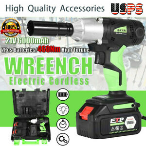 1 2 In Cordless Electric Impact Wrench G un Drill Tool Fast Charge 2 X Battery