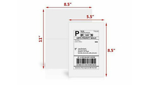 200 Adhesive Blank Shipping Labels 2 Per Sheet 8 5 X 5 5 Premium Quality