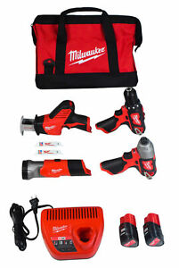 Milwaukee 2498 24 M12 Cordless Lithium ion 4 tool Combo Kit