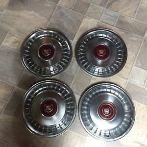 Set Of 4 Cadillac Hubcaps Wheel Covers Antique Vintage