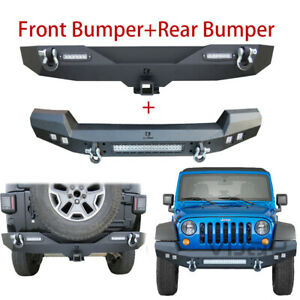 Vijay Black Front And Rear Bumper For 07 17 Jeep Wrangler Jk With Hook Hole