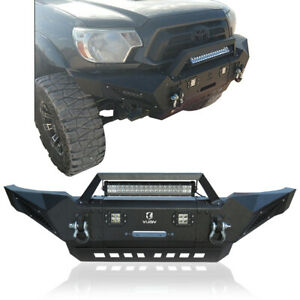 Vijay Black Textured Front Bumper 05 15 Tacoma With Winch And Led Lights