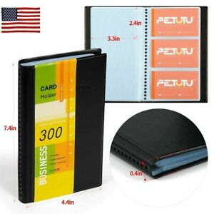 Business Name Card Organizer Book Booklet Wallet Holder Pu Leather 300 Cards