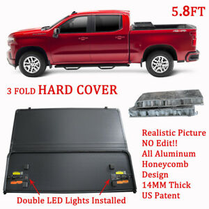 Hard Tonneau Cover 5 8ft 3 Fold Truck Bed For 09 19 Ram 1500 Truck Bed W Led