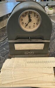 Vintage Simplex Time Recorder Keeper Punch Clock Record With Time Cards