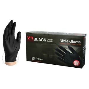 2000 cs Ammex Bx3d Disposable Powder free Nitrile Industrial Gloves Black