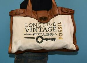 FOSSIL Long Live Vintage Large Weekender Leather Canvas Brown Shoulder Purse Bag $24.99