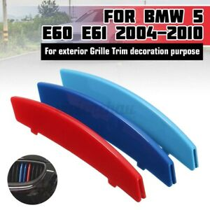 3 Color Car Front Grille Strips Cover Stickers Clips M For Bmw 5 Series E60