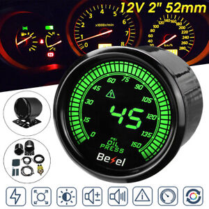 2 52mm Car Led Digital Oil Press Pressure Gauge Meter Sensor 12v 0 150