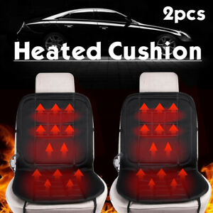 2x 12v Car Heated Seat Cover Heating Hot Thermal Chair Cushion Warmer