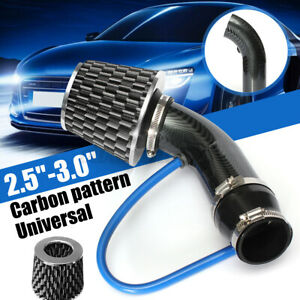 3 5 Universal Car Carbon Alumimum Cold Air Intake Filter Induction Pipe