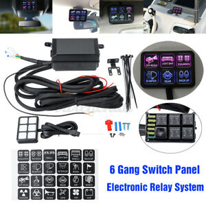 6 Gang Switch Panel Electronic Relay System Led Work Light Bar For Car Boat