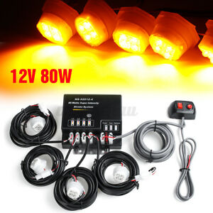 80w 4 Led Bulbs Hide A Way Emergency Hazard Warning Flash Strobe Light