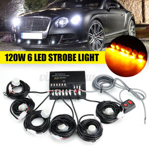 120w 6 Led Bulbs Amber Hide A Way Emergency Warning Strobe Light System Kit