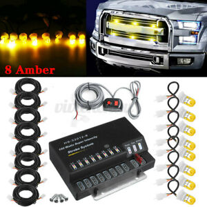 160w 8 Hid Bulbs Hide A Way Emergency Hazard Warning Strobe Light System Kit