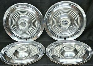 1954 1955 Oldsmobile Deluxe Hubcaps Wheel Covers Oem Set Of 4