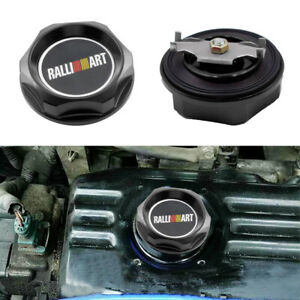 Black Ralliart Aluminum Racing Engine Oil Filler Cap Black For Mitsubishi