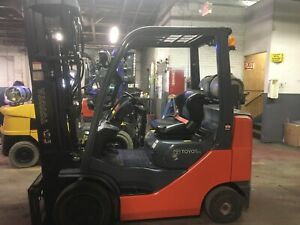 2015 Toyota 5000lb Forklift With Quad Mast Max Lift Ht 258