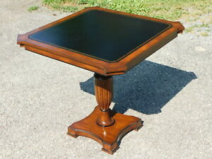Fancy Antique Designer Mahogany Leather Top Game Card Center Table W Pull Outs