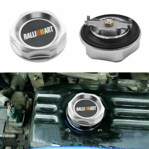 Silver Ralliart Aluminum Racing Engine Oil Filler Cap Silver For Mitsubishi