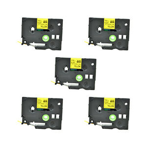 5pk Heat Shrink Cartridge Label Black On Yellow Hse611 For Brother P touch 1 4