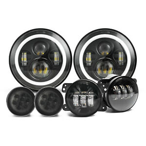 7 Led Headlights 4 Fog Lights turn Signal Lamps For Jeep Wrangler Jk Jku 07 18