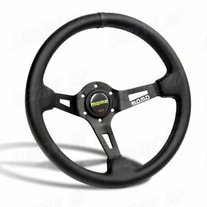 New Black Line 350mm Racing Steering Wheel Microfiber Leather For Yo Momo Hub X1