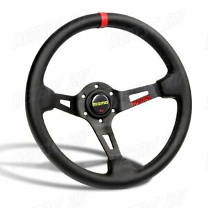 New Red Line 350mm Racing Steering Wheel Microfiber Leather For Yo Momo Hub X1