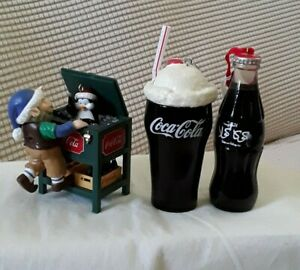 Coca Cola Christmas Ornaments 3 Piece Collectibles  Coke Floats Stand And Bottle