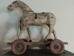 Rare Antique Large Horse Wood Pull Toy Wood Wheels Hand Carved Original Paint