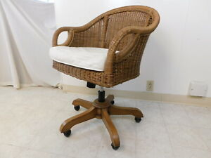Vintage Florida Sun Room Designer Wicker Bamboo Cane Rolling Office Desk Chair