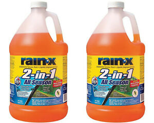 Rain x 1 gal 2 in 1 Windshield Washer Fluid Bug Remover 2 Pack